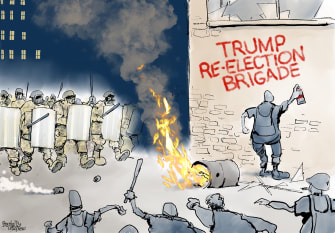Political Cartoon U.S. Trump reelection Portland protests