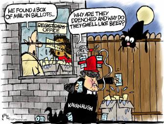 Political Cartoon U.S. Kavanaugh SCOTUS voting ballots