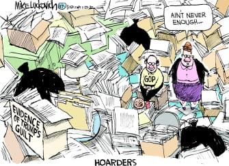 Political Cartoon U.S. Trump impeachment evidence hoarders
