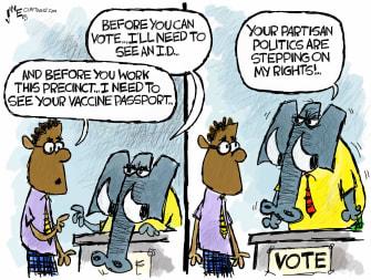 Political Cartoon U.S. gop covid vaccine voting rights