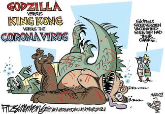 Editorial Cartoon U.S. godzilla king kong covid vaccine