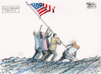 Editorial Cartoon U.S. Voters 2020 Iwo Jima flag