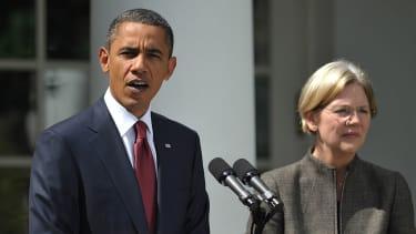 Elizabeth Warren and President Obama.