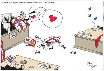 Political Cartoon U.S. Trump Impeachment Jury GOP Love