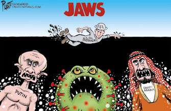 Editorial Cartoon U.S. oil producers jaws putin saudi arabia coronavirus