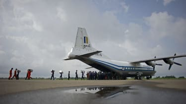Myanmar Air Force Shaanxi Y-8, similar to the plane that disappeared.