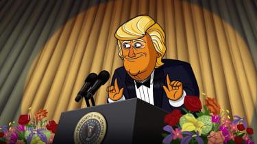 Colbert's Cartoon President Trump delivers Trump's WHCD roast