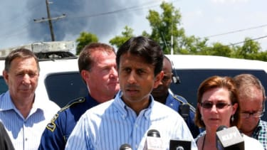 Louisiana Governor, Bobby Jindal, speaks during a news conference near the Williams Olefins chemical plant in St. Gabriel, Louisiana, June 13.