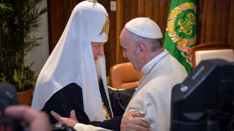 Pope Francis meets with Russian Orthodox leader in historic visit.