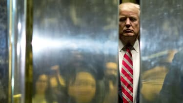 Trump in the elevator at Trump Tower