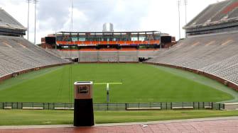 An empty stadium.