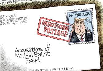 Political Cartoon U.S. Trump election mail in ballots
