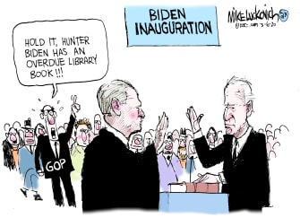 Political Cartoon U.S. Joe Biden Hunter Biden GOP investigation swearing in inauguration