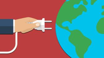Person plugs into a globe.