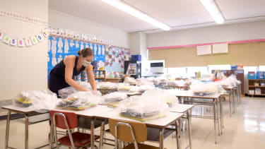 Nancy Rastetter, a teacher at Yung Wing School P.S. 124, packs up belongings from the 2019/2020 school year to be picked up by students on August 25, 2020 in New York City.