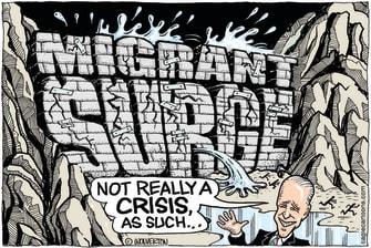 Political Cartoon U.S. biden migrant surge