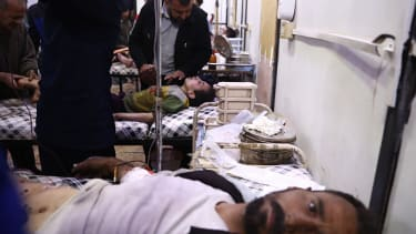 Syrian hospital patients receive treatment in Douma, outside Damascus, on April 3.