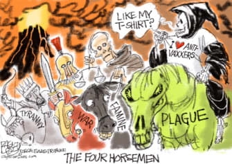 Editorial Cartoon U.S. covid anti vaxxers four horsemen