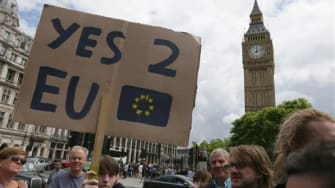 Anti-Brexit protest in London, Saturday, June 25, 2016.