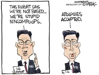 Political Cartoon U.S. FBI Inspector General Report Apologies
