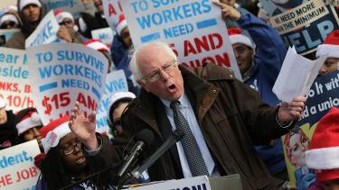Sen. Bernie Sanders protests for higher national wage.