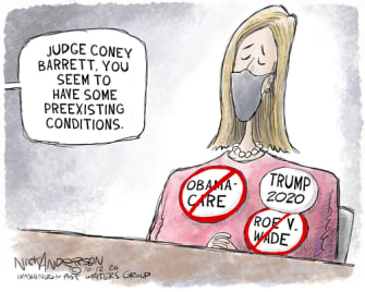 Political Cartoon U.S. Trump Amy Coney Barrett