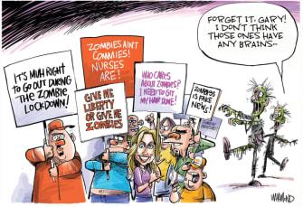Political Cartoon U.S. lockdown protests coronavirus zombies