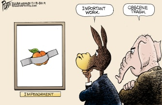 Political Cartoon U.S. Modern Art Critics Impeachment