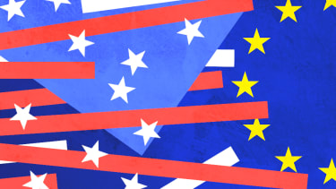 The American and EU flags.