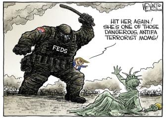Political Cartoon U.S. Trump Portland militia