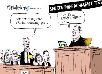 Political Cartoon U.S. Trump Lindsey Graham senate impeachment