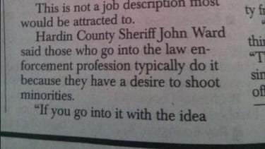 Kentucky newspaper quotes sheriff as saying police 'have a desire to shoot minorities,' retracts it