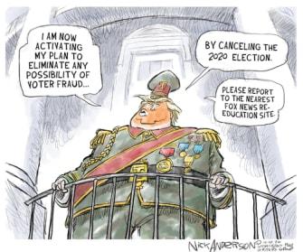 Political Cartoon U.S. Trump dictator