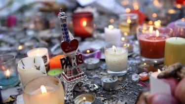 Memorial outside the Bataclan concert hall in Paris