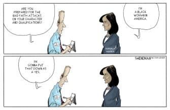 Political Cartoon U.S. Kamala Harris Joe Biden Vice President Attacks