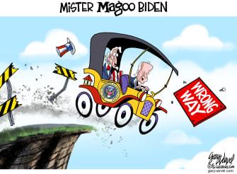 Political Cartoon U.S. biden mr magoo