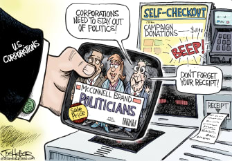 Political Cartoon U.S. mcconnell corporate money