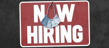 A hiring sign.