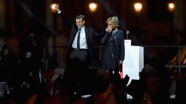 Emmanuel Macron and his wife, Brigitte