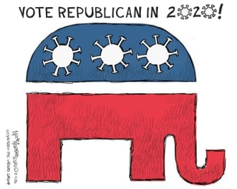 Political Cartoon U.S. GOP coronavirus 2020