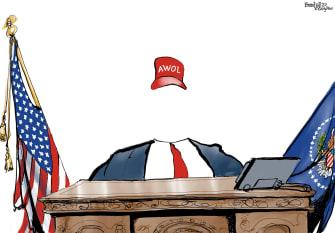 Political Cartoon U.S. Trump AWOL