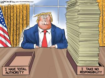 Political Cartoon U.S. Trump total authority coronavirus