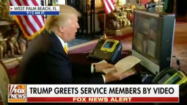President Trump on video chat.