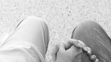 Holding hands at the hospital.