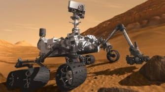An artist's concept of Curiosity on Mars