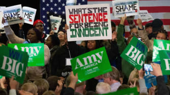 Protesters at Amy Klobuchar's rally.