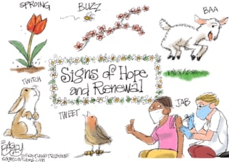 Editorial Cartoon U.S. spring covid vaccine