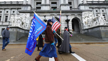 Republican protesters outside Pennsylvania's statehouse.