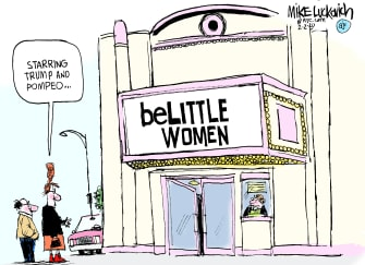 Political Cartoon U.S. Trump Mike Pompeo Mary Louise Kelly Little Women movies theater sexism misogyny