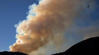 A fire burns near Los Angeles, California.